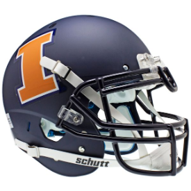 Illinois Fighting Illini Matte Navy Schutt XP Authentic Full Size Football Helmet