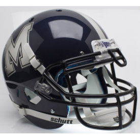 Memphis Tigers Chrome Decal Schutt XP Authentic Full Size Football Helmet