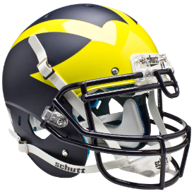 Michigan Wolverines Matte Blue Schutt XP Authentic Full Size Football Helmet