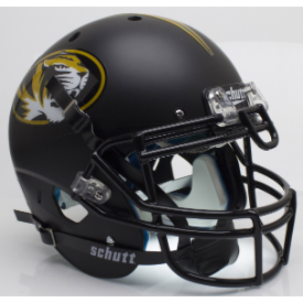 Missouri Tigers Matte Black Schutt XP Authentic Full Size Football Helmet