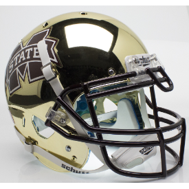 Mississippi State Bulldogs Chrome Gold Schutt XP Authentic Full Size Football Helmet