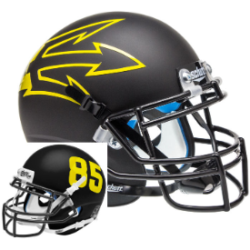 Arizona State Sun Devils Matte Black Lg Pitchfork Schutt XP Replica Full Size Football Helmet