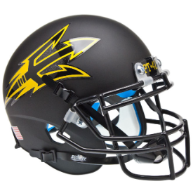 Arizona State Sun Devils Matte Black Pitchfork Schutt XP Replica Full Size Football Helmet