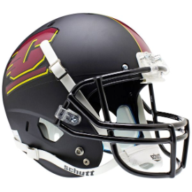 Central Michigan Chippewas Matte Black Schutt XP Replica Full Size Football Helmet