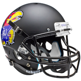 Kansas Jayhawks Matte Black Schutt XP Replica Full Size Football Helmet