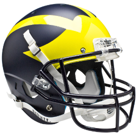 Michigan Wolverines Matte Blue Schutt XP Replica Full Size Football Helmet