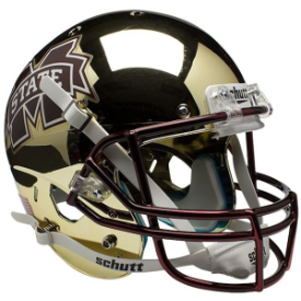 Mississippi State Bulldogs Chrome Gold Schutt XP Replica Full Size Football Helmet