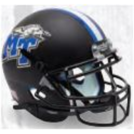 Middle Tennessee State Blue Raiders Matte Black Schutt XP Replica Full Size Football Helmet
