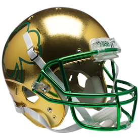 Notre Dame Fighting Irish Gold Shamrock Schutt XP Authentic Full Size Football Helmet