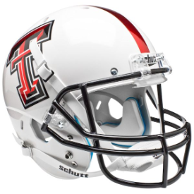 Texas Tech Red Raiders White Chrome Logo Schutt XP Replica Full Size Football Helmet