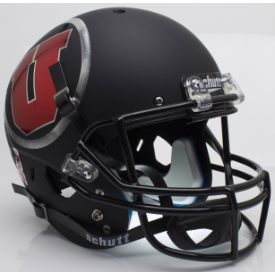 Utah Utes Matte Black Chrome Decal Schutt XP Replica Full Size Football Helmet