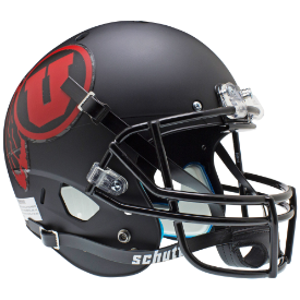 Utah Utes Matte Black Red Logo Schutt XP Replica Full Size Football Helmet