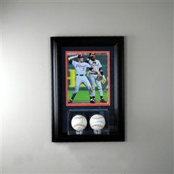 Wall Mounted Double Baseball Display Case with 8 x 10