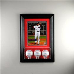 Wall Mounted Triple Baseball Display Case with 8 x 10
