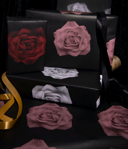 Gothic Holiday Rose - Wrapping Paper - Set of 3 Sheets