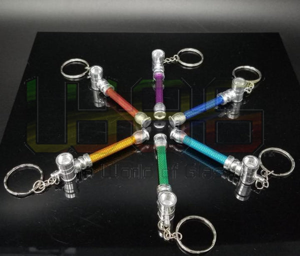 "2.5"" Brightly Colored One-Hitter Keychain 12pk Metal Hand Pipe"
