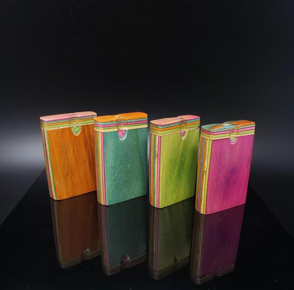 Colored Square Wooden Dugout w/ Rainbow Accent