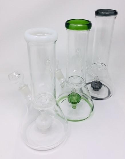 "10"" Color Trim Disk Clear Beaker Water Pipe"