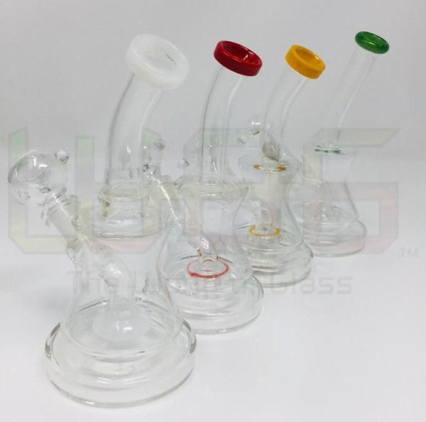 "6"" Bent Neck Hourglass Gear Perc Water Pipe"