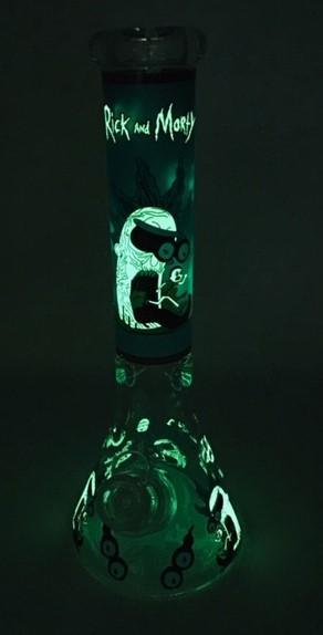 "14"" RM Glow Wide Logo Ice Catcher Water Pipe"