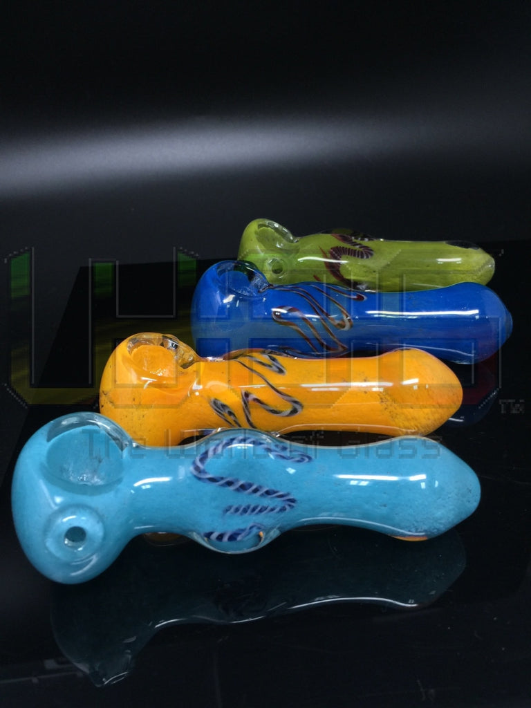 4 Latticino Ribbon Solid Color Hand Pipe