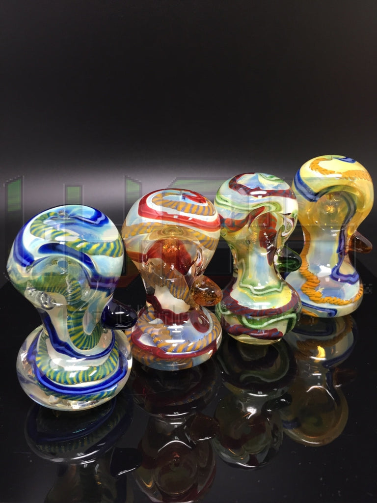 2.5 Wide Mouth Fumed Latticino Hand Pipe