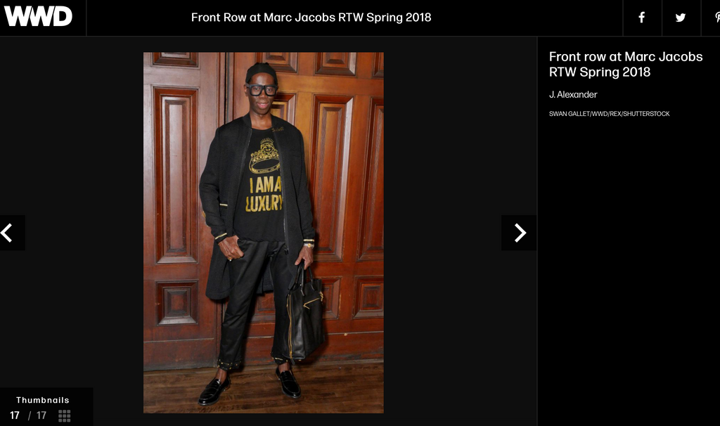 "Miss J Alexander wears wtfhyd ""fuck off"" gold money clip to Marc Jacobs fashion week show in NYC"