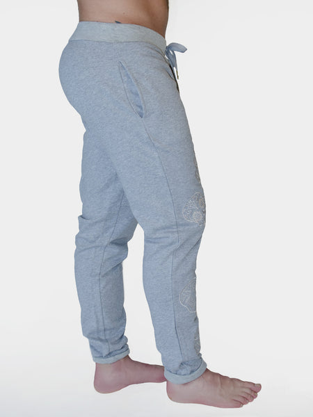 Skull Embroidered Slim Fit Track Pants - Grey