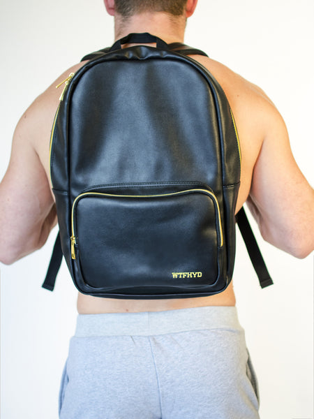 WTFHYD Black Leather Backpack