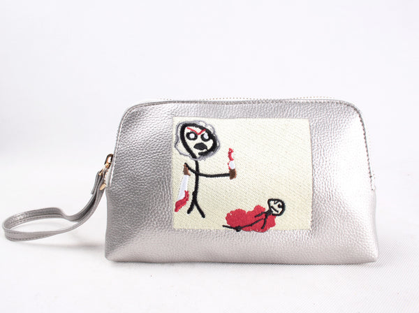 'Don't hurt yourself' Embroidered Leather pouch