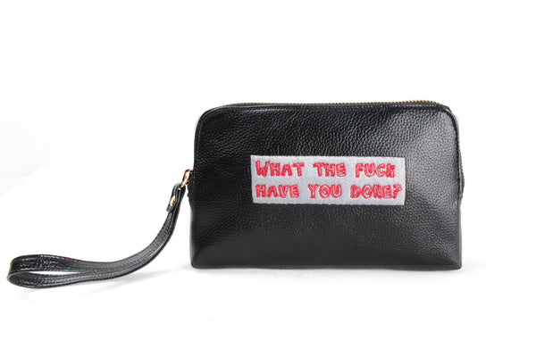 'what the fuck have you done?' Embroidered Leather pouch