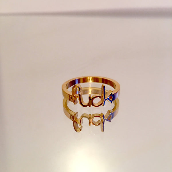 14k Gold 'fuck' Ring