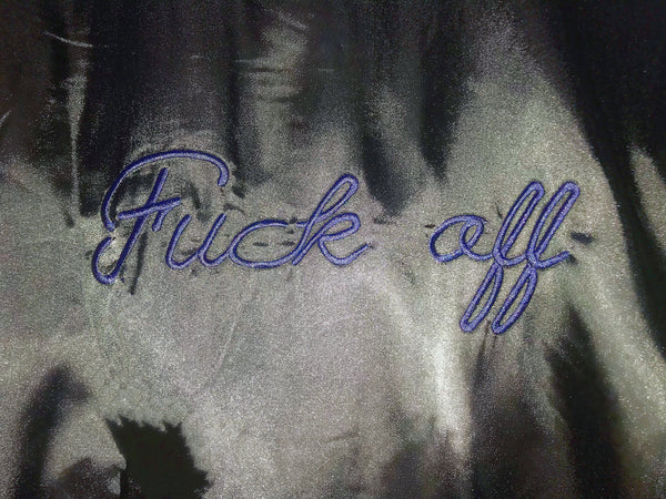 'fuck off' baseball bomber jacket
