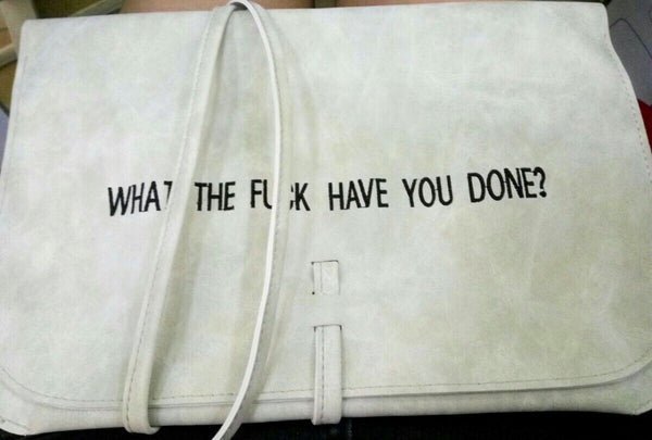 What the fuck have you done? Embroidered Leather iPad folder