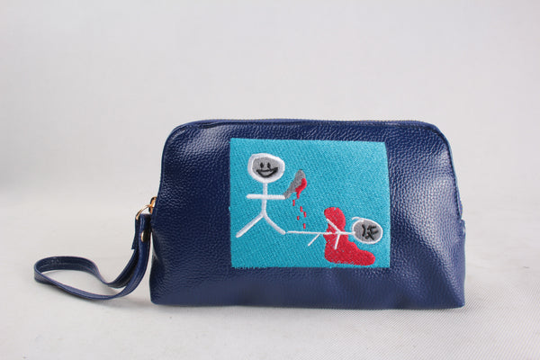 Look at what you made me do Embroidered Leather pouch