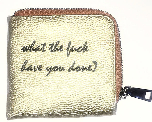 'WTFHYD' Gold Leather Zipper Wallet