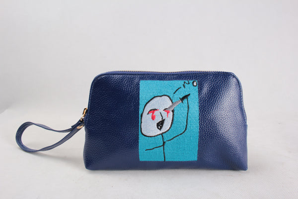 'I would rather...' Embroidered Leather Pouch