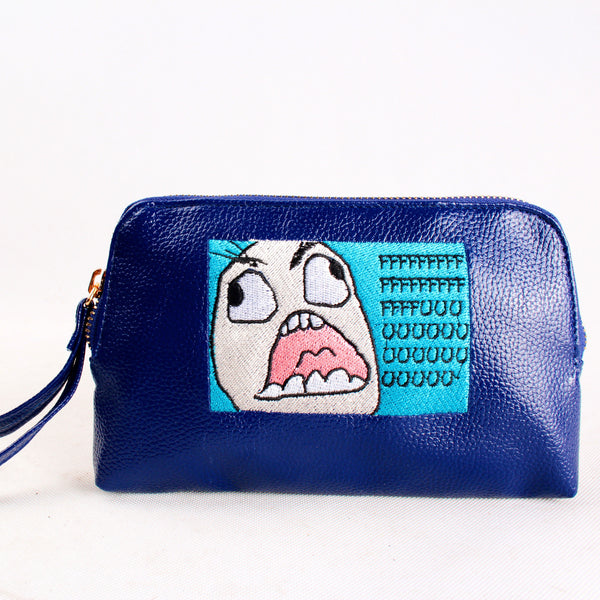 'F U' Embroidered Blue Leather pouch