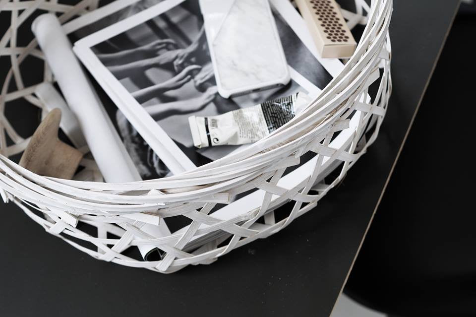White Bamboo Basket
