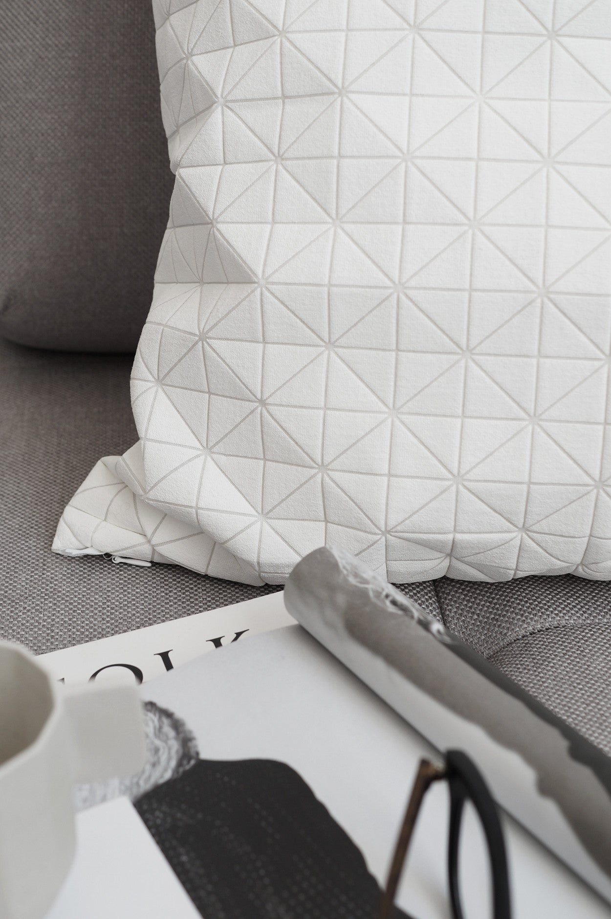White Origami Cushion Cover
