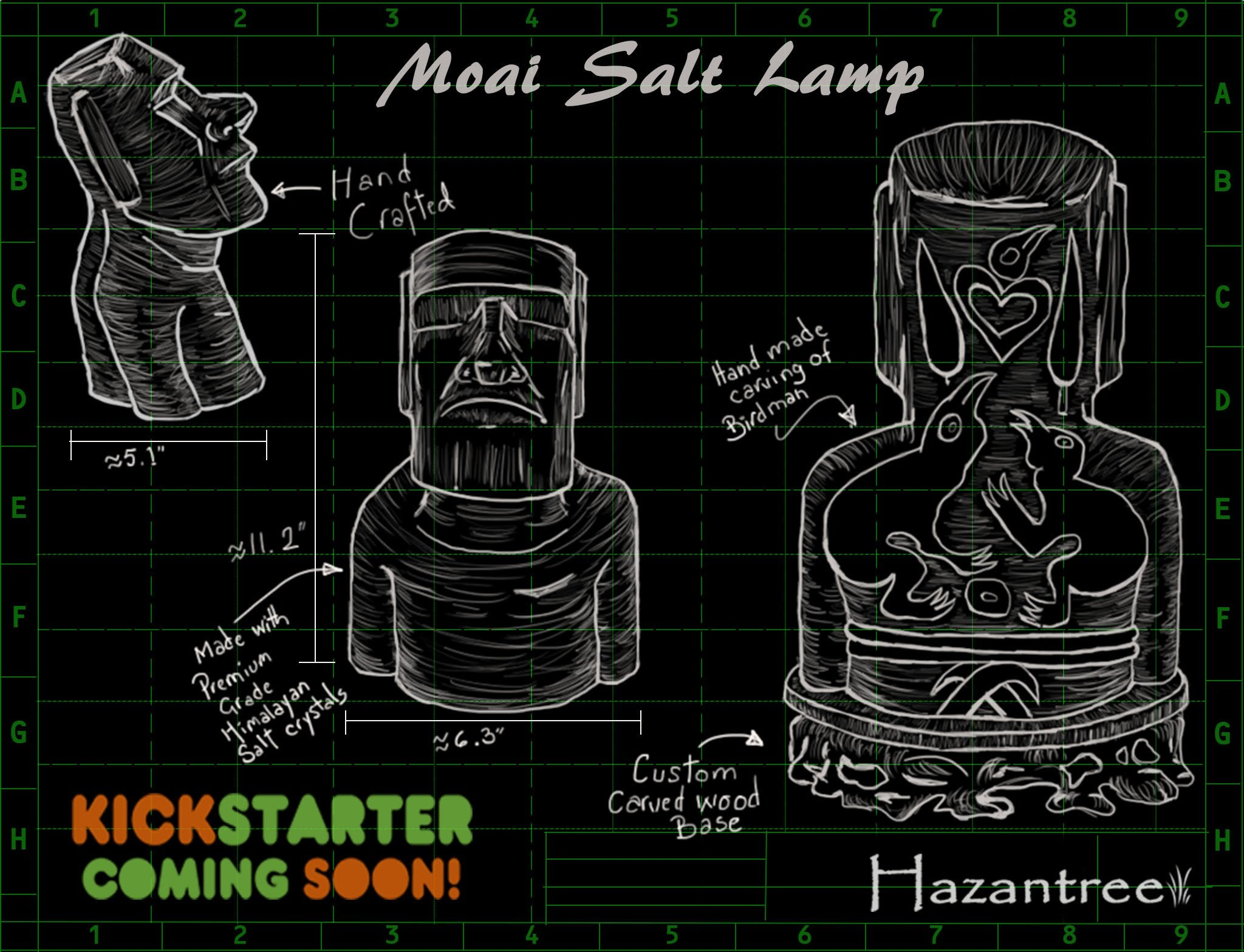 Moai sketch himalayan salt lamp on kickstarter