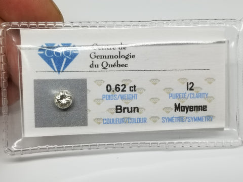0.62 CT diamants Qualiter I2 couleur Brun - orquebec