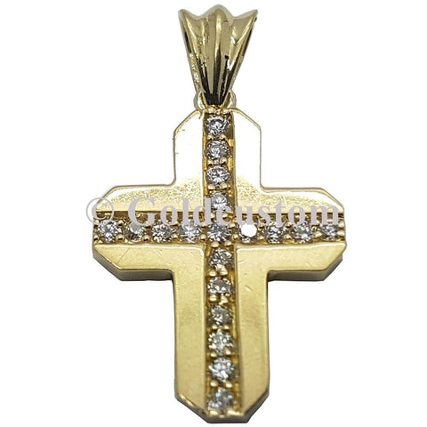 10K High Polish Solid Yellow Gold Lacrose Cross Pendant - orquebec