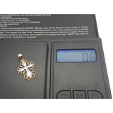 10K Solid Gold Quade White Cross Charm Pendant - orquebec