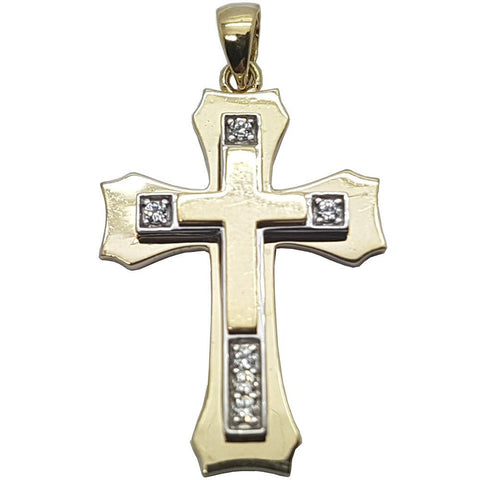 10K Solid Yellow Gold Okal Cross Pendant - orquebec