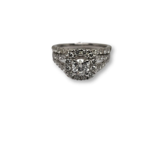 Bague Lisa  halo 1.50ct diamants en or blanc 14k