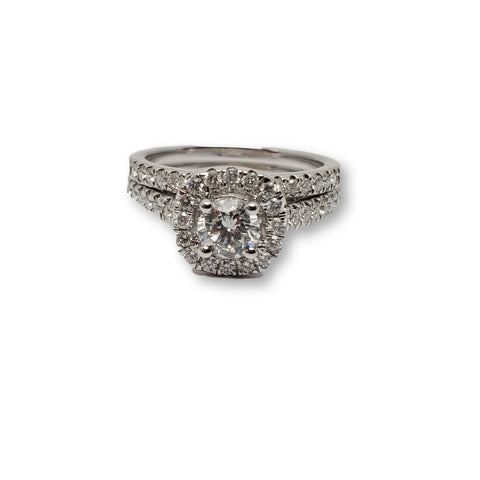 Bague lanna Halo 1.00ct diamants en or blanc 14k