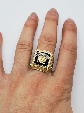 Bague Versace onxy noir en or 10k model 2020