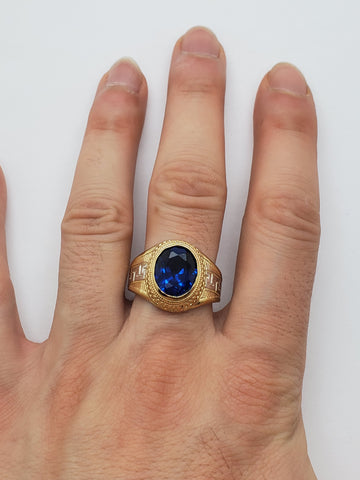 Bague versace pierre  bleu  en or 10k model 2020