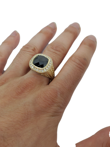 Bague pierre noir en or 10k model 2020